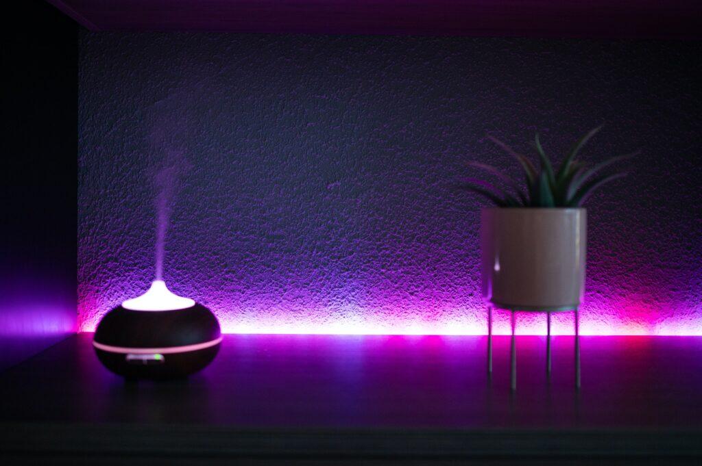 Led humidifier at home at night